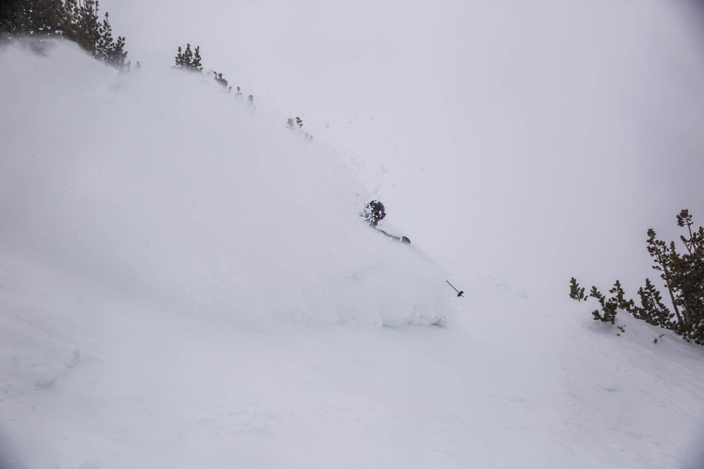 Storming into the snowstorm. - ©Mammoth Mountain