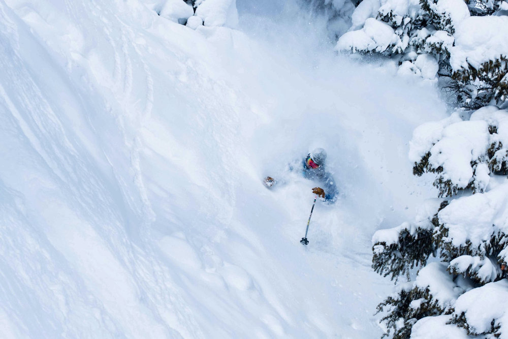 A skier gets pitted at Wolf Creek Resort, Colorado.