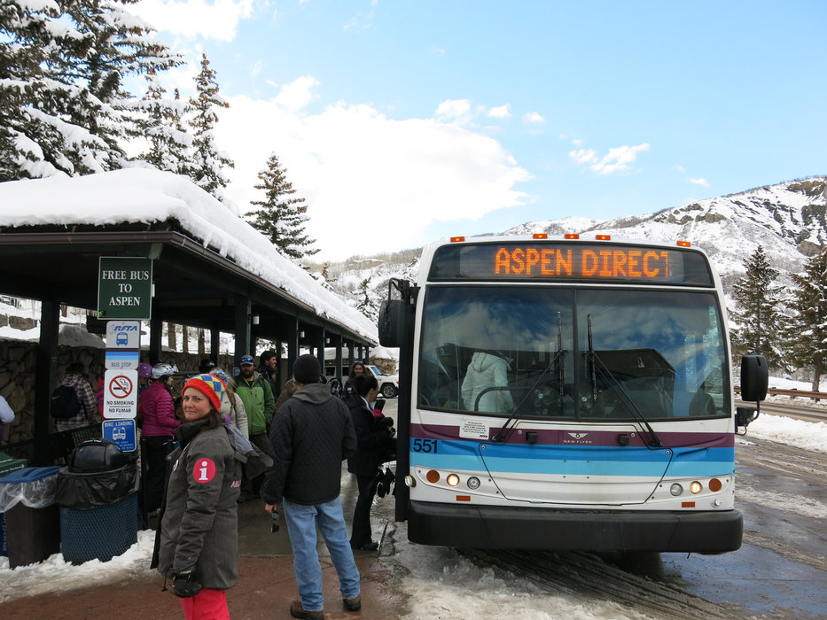 Taking the bus in Snowmass
