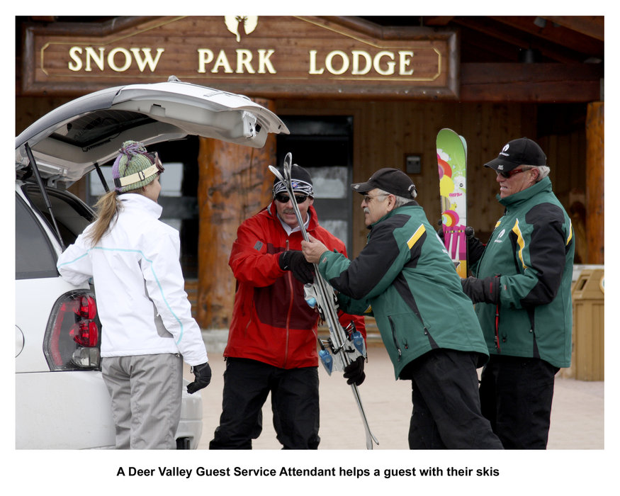 Skiers at Snow Park Lodge in Deer Valley, UT