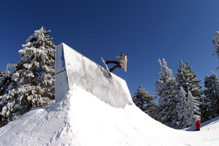 A snowboarder at Mt. High, CA.