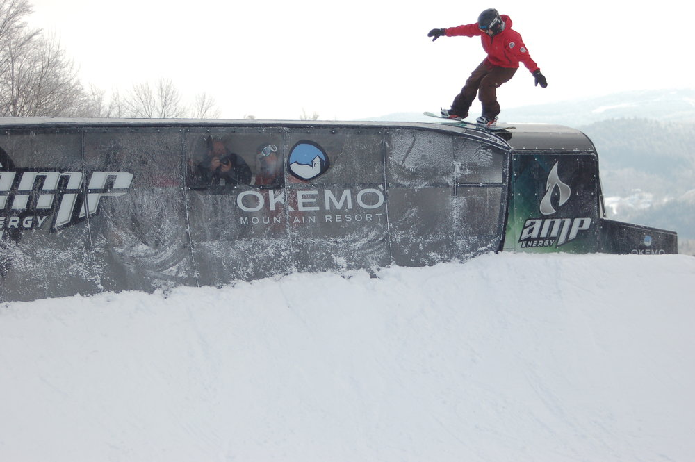 Benji Farrow tries out the new terrain feature at Okemo, Vermont.