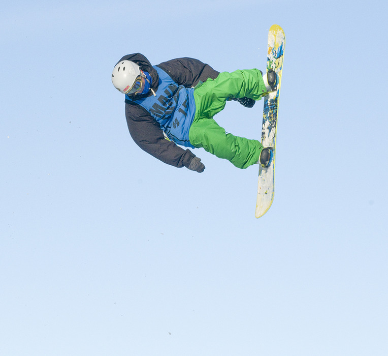 Ian Hart of Meredith, N.H. gets vertical in a Main Event Series competition at Wachusett Mountain, Mass.