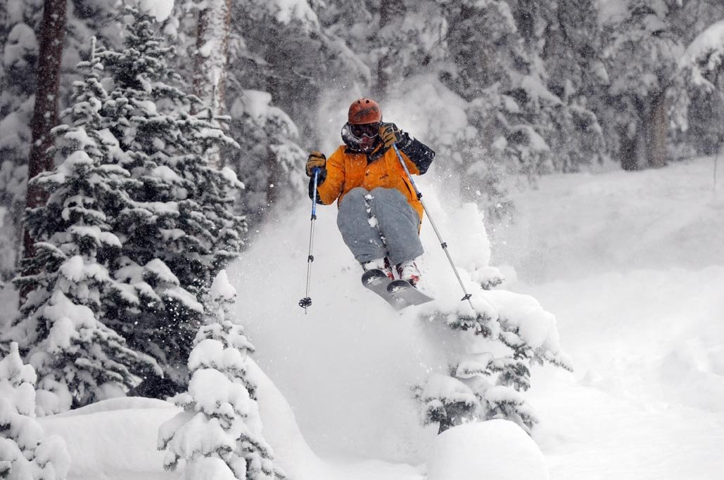 Powder skier in Telluride, CO.