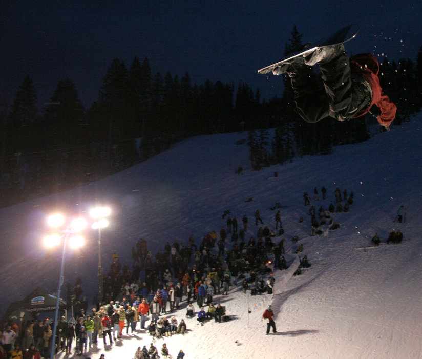 Snowboarder in big air jump at Big Sky