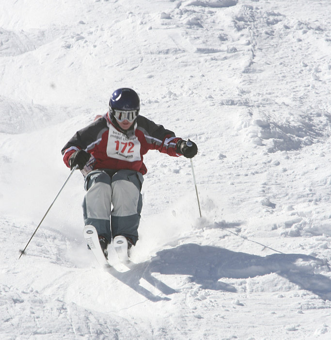 Killington Hosts Bear Mountain Bump Bash  Competitor bounces down the moguls on Outer Limits.