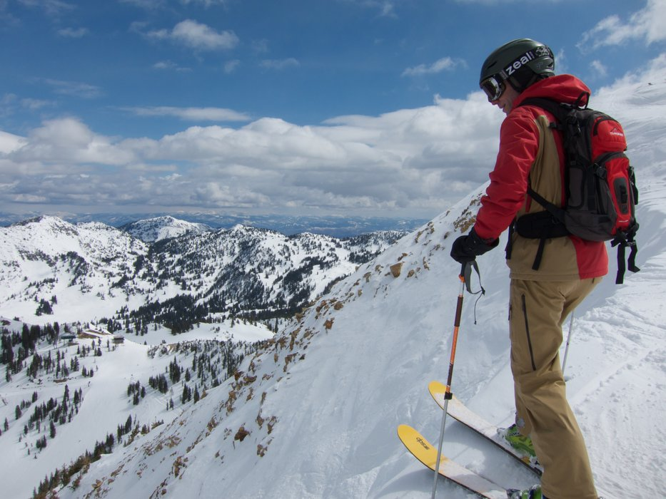 Standing above the Alta Chutes at Jackson Hole