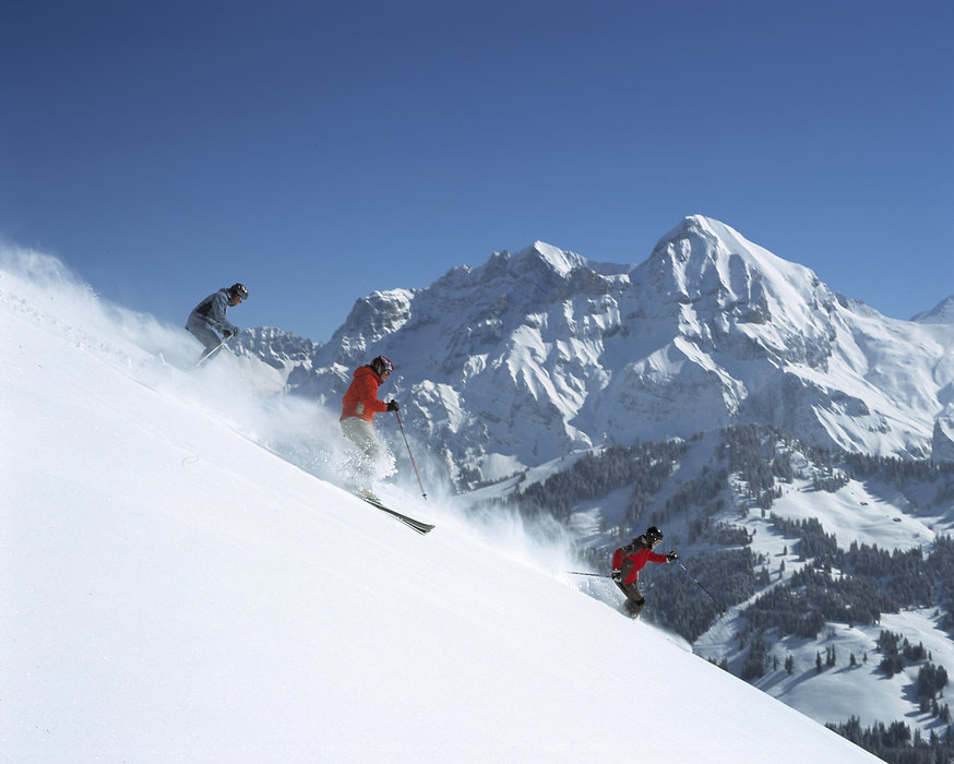 Powder skiers descending Adelboden.