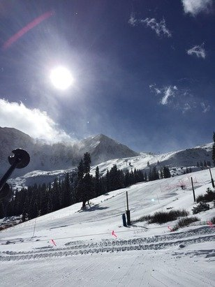 Lenape lift opened today!  Windy, but nice to have a top-bottom run.  Thx A-Basin!