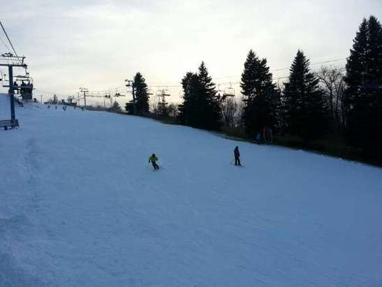 Mount Holly is open! Skiied there Saturday 11/15/14.  Two lifts were open and the snow machines were running all day working hard to get the rest of the mountain open