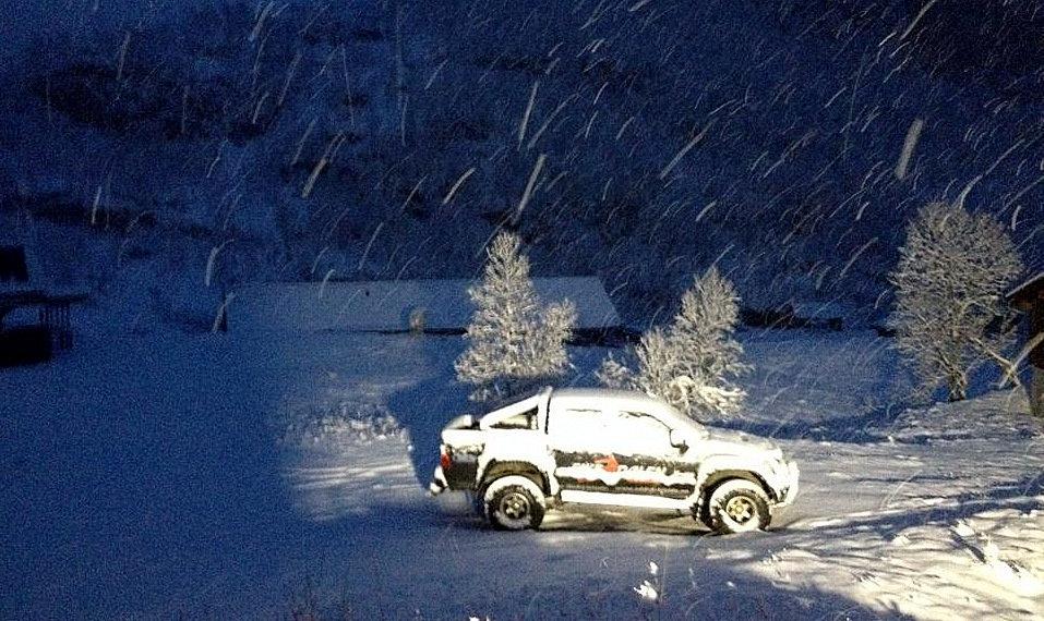 - ©Har kommet 20 cm med snø nederst i anlegget.