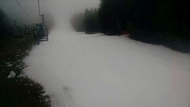 Very decent snow, fun day nobody's here since it's raining!