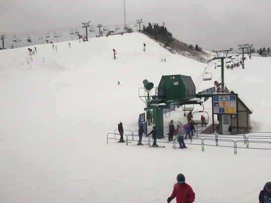 Ice and some slush, but not all bad.  All runs are open and a pretty good day considering it was raining this morning!