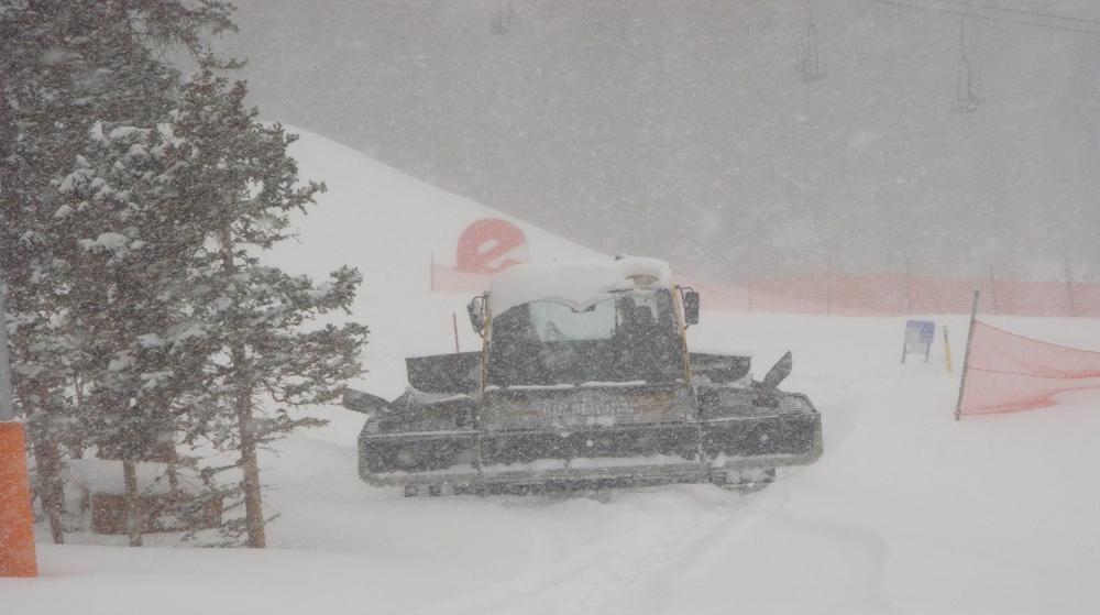 A Snowcat at snowy Echo, CO.