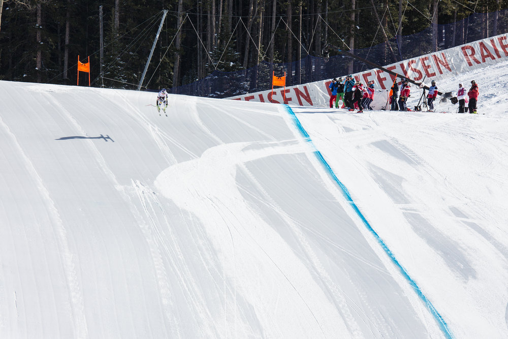 Lindsay Vonn catching air into the finish. - © Liam Doran