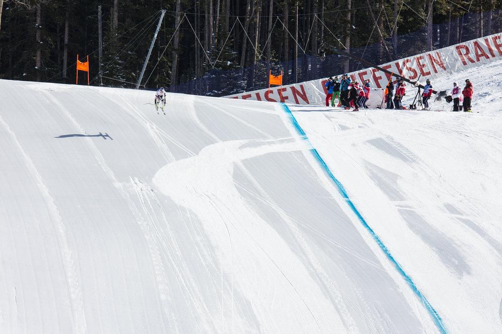 Lindsay Vonn catching air into the finish. - © Liam Doran
