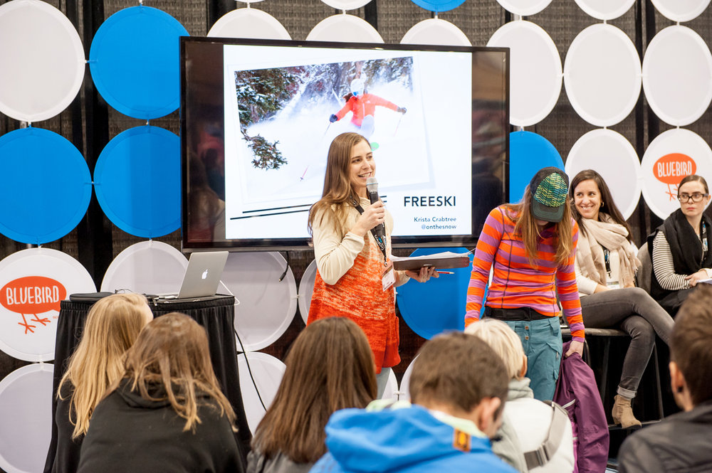 OnTheSnow Ski Test Director, Krista Crabtree gives the lowdown on some of her favorite-for-2016 gear at the How To Wear It demo. - ©Ashleigh Miller Photography