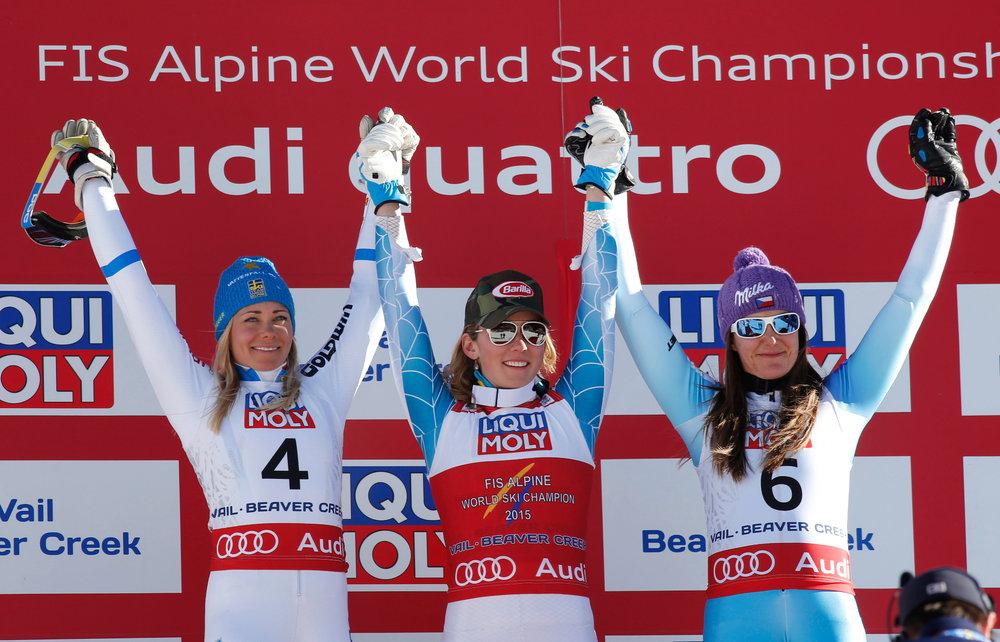 Podium im Slalom: Frida Hansdotter (2.), Mikaela Shiffrin (1.), Sarka Strachova (3.) - ©Audi Media-Service