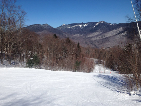 Blue sky. Bright sun. Packed powder. Fast  Great coverage.  No crowds but it is Friday.  Terrific day.