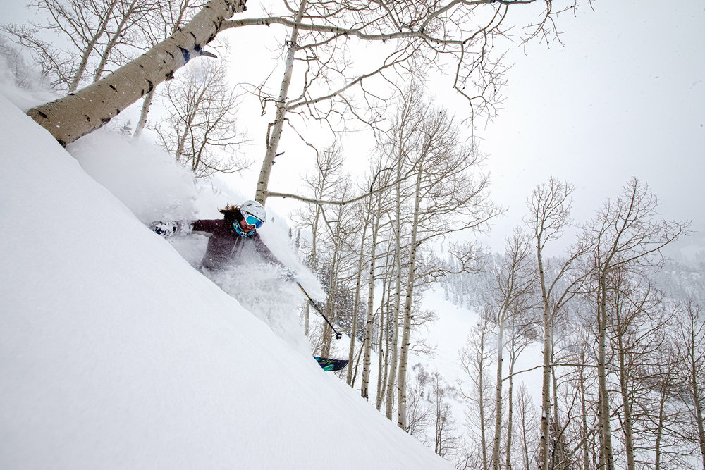 Ski Test Director, Krista Crabtree, takes a lap between whip cracking and running the show. - © Liam Doran