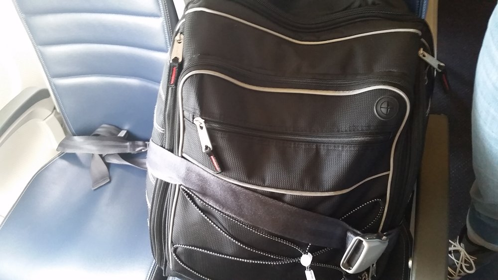Even the flight attendants to and from Mammoth Lakes airport were cool, giving my boot bag it's own seat and row. - ©Heather B. Fried