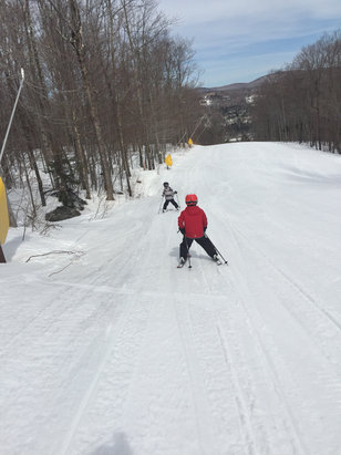Mount Snow - Great day. Lots of snow. Crunchy in the morning, softened up around noon then firm around 2p.
