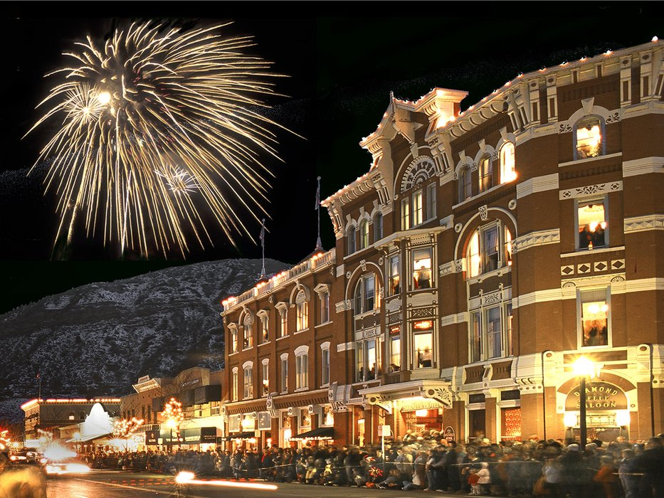 Fireworks over the Strater Hotel in Durango, CO.
