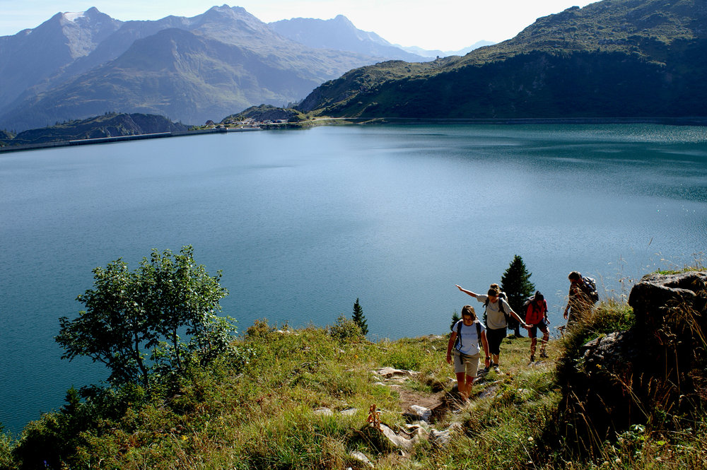 Hikers in Wandern am Spullersee, Austria.