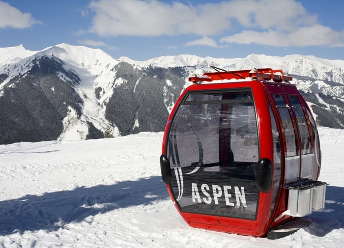 One of Aspen's signature red gondolas.