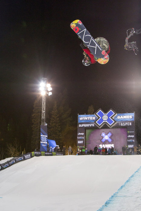 Gretchen Bleiler crushing the pipe at the X Games in Aspen.