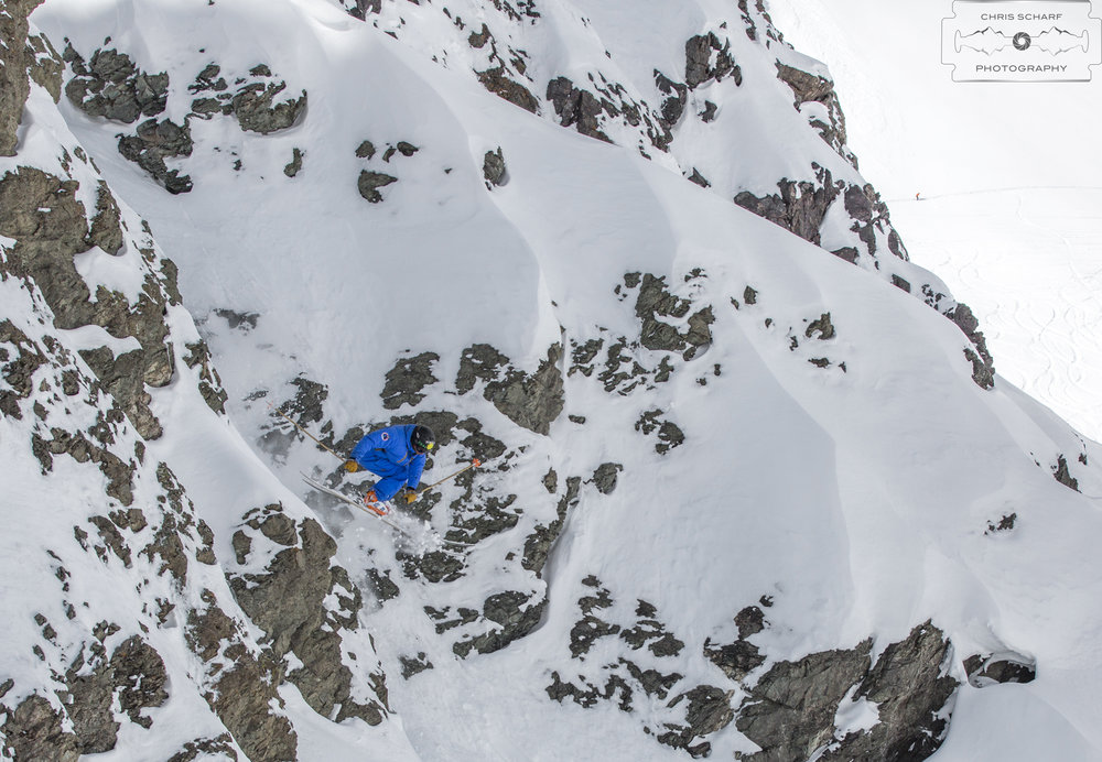 Ski instructor/coach, Ramp athlete and Freeride World Tour Qualifier competitor, Andrew Rumph displays his qualifications on the slopes of Portillo, Chile. - ©Chris Scharf Photography