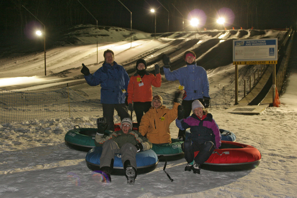 A group of tubers at Wild Mountain, MN at night