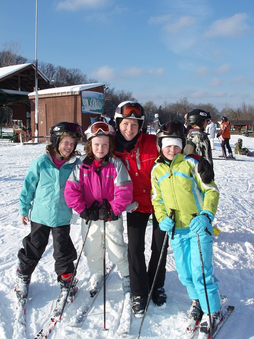 A trio of young ladies with their instructor at Wild Mountain, MN