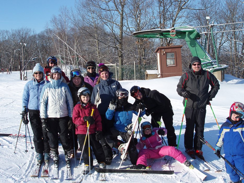 Many skiers pausing for a picture at Wild Mountain, MN