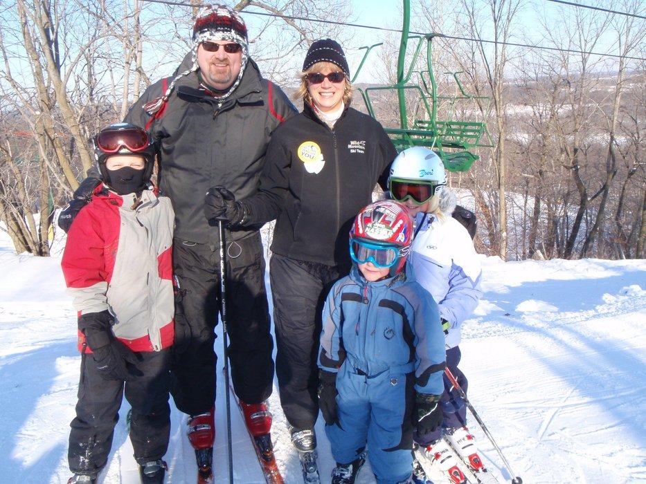 Family of skiers at Wild Mountain, MN