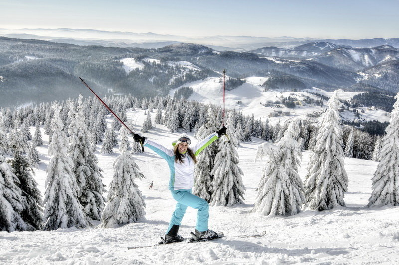 Skiers have fun in Donovaly, Central Slovakia