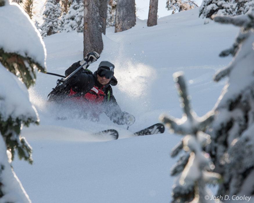 Jason Lombard skis deep powder at Wolf Creek. - ©Josh Cooley
