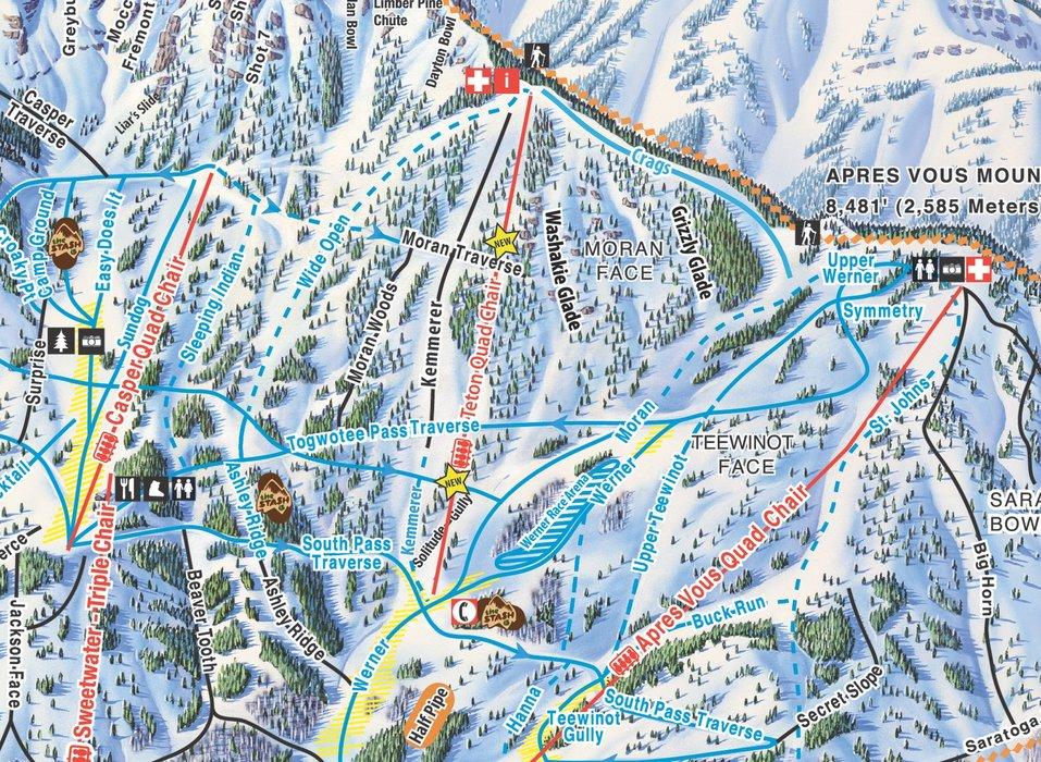 Trail map close up of new Teton Lift at Jackson Hole Mountain Resort. - ©Jackson Hole Mountain Resort