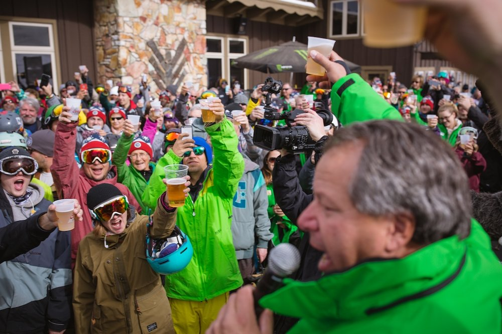 Cheers! Mammoth is the first to open in CA - ©Peter Morning/MMSA