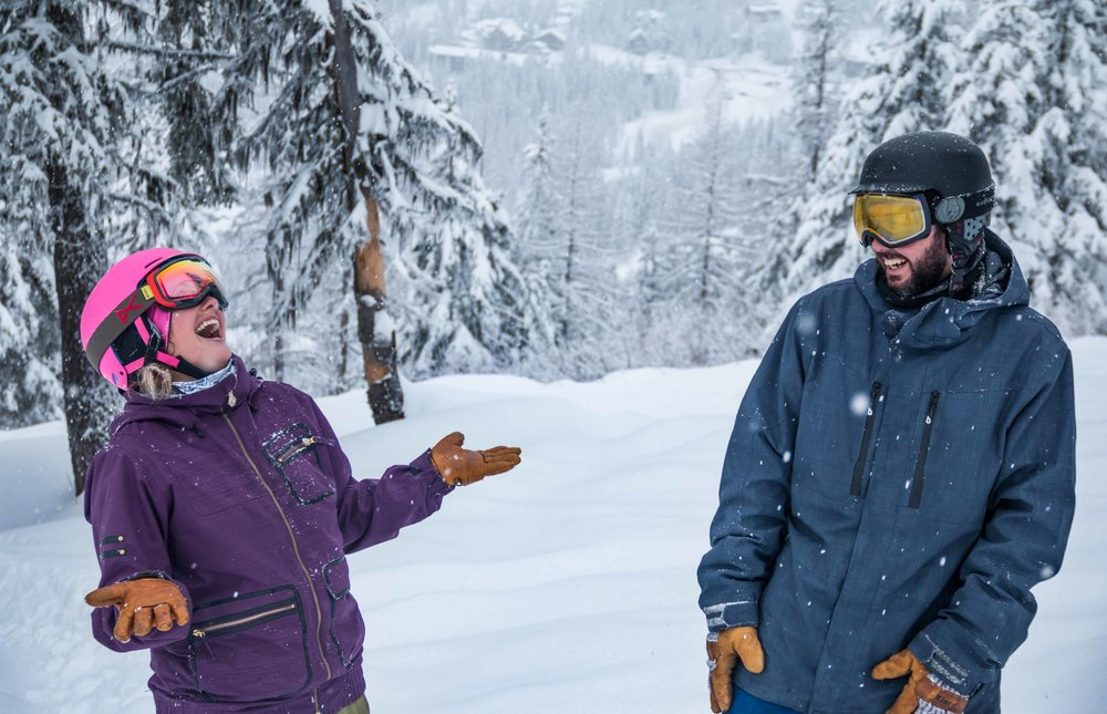Happy faces for a 10-inch dump of overnight powder at Whitefish on Friday. - ©Chuck Finlay/Whitefish Mtn. Resort