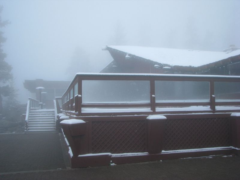 A storm covers a lodge at Heavenly Mountain Resort in South Lake Tahoe, California