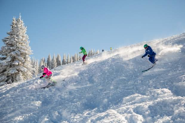 Skiing powder with the ladies on brand new gear is as good as it looks here. - ©Vail Daily