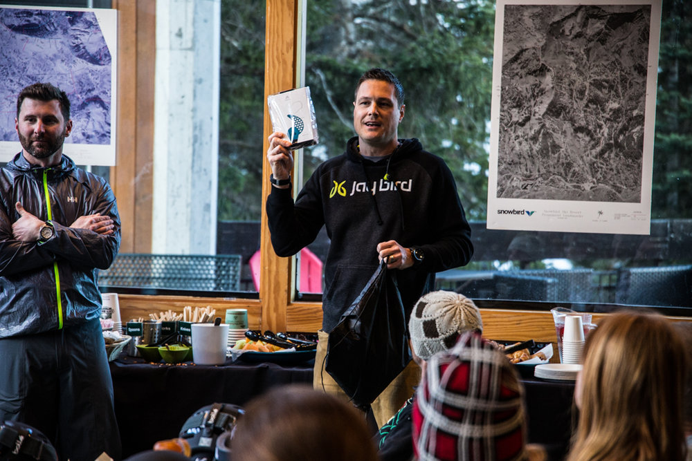 Ski Test sponsor, Jaybird gives testers the lowdown at the kickoff meeting. - ©Liam Doran