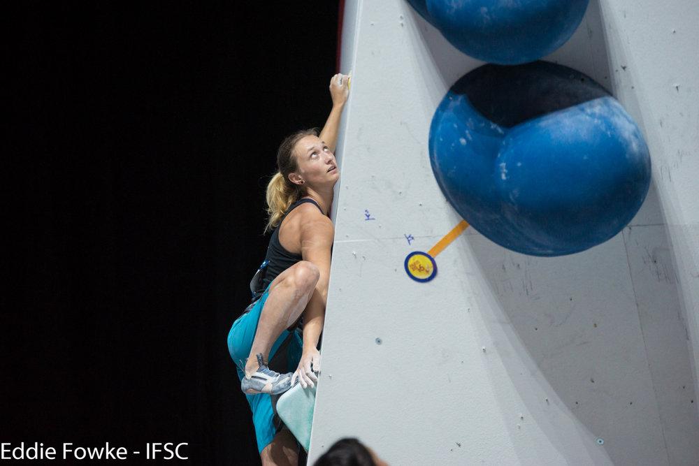 Monika Retschy vom DAV blieb im Halbfinale ohne Top-Begehung - ©IFSC / Eddie Fowke