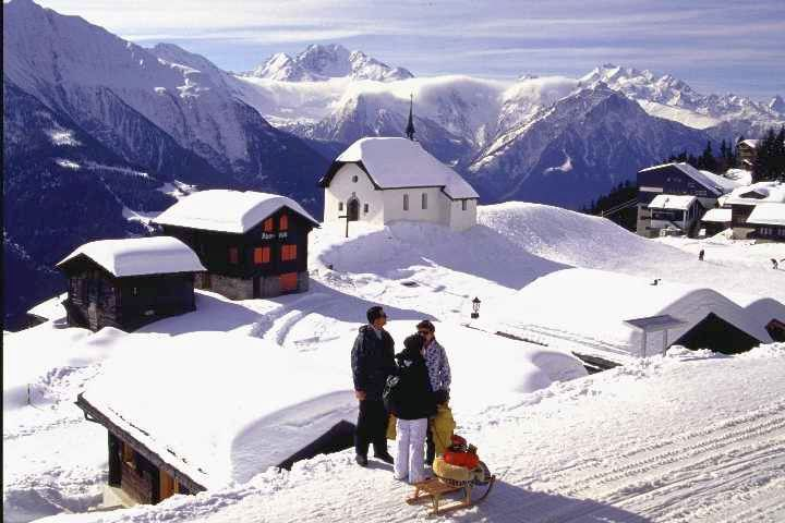 The snowy village of Rideralp, Switzerland. 