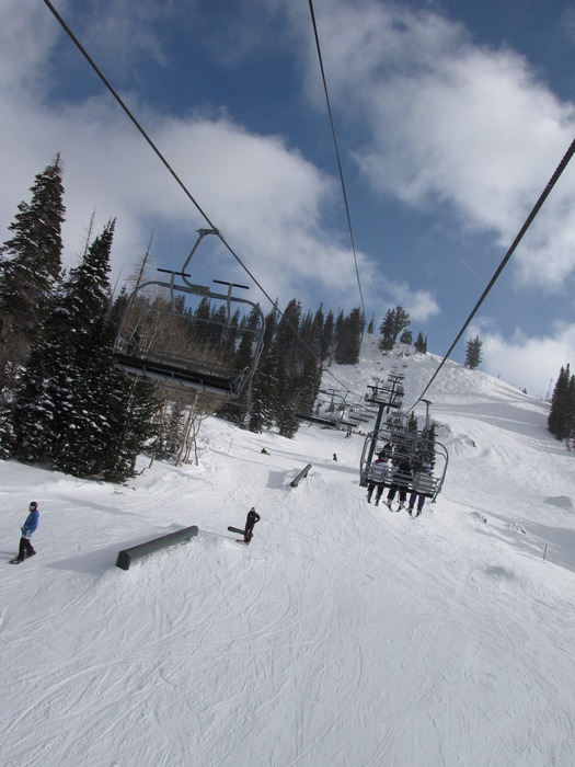 Terrain park under the lifts at Brighton, Utah.