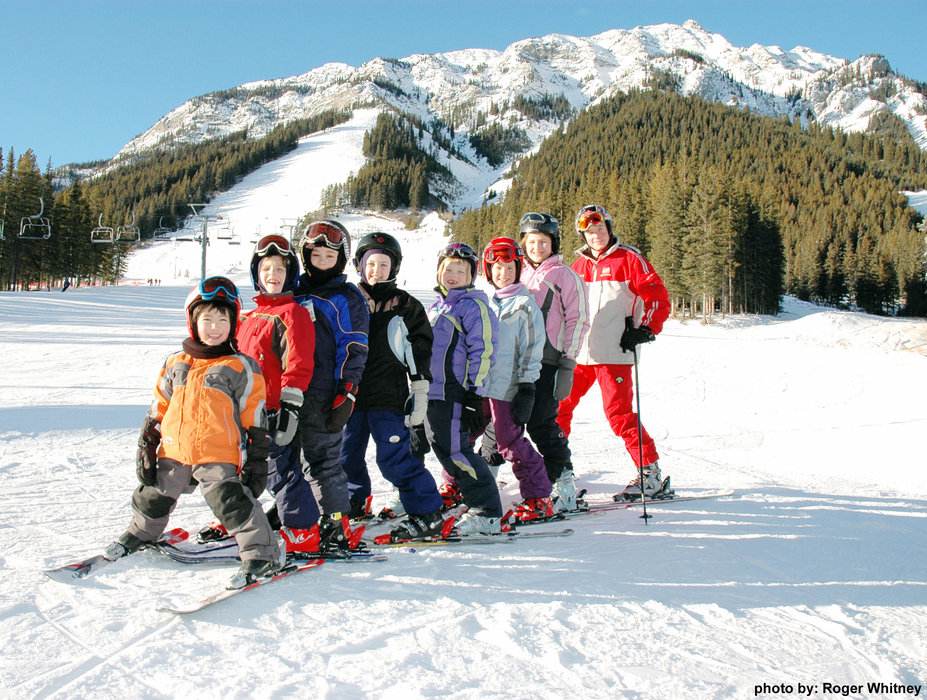 Kids at ski school on Mount Norquay