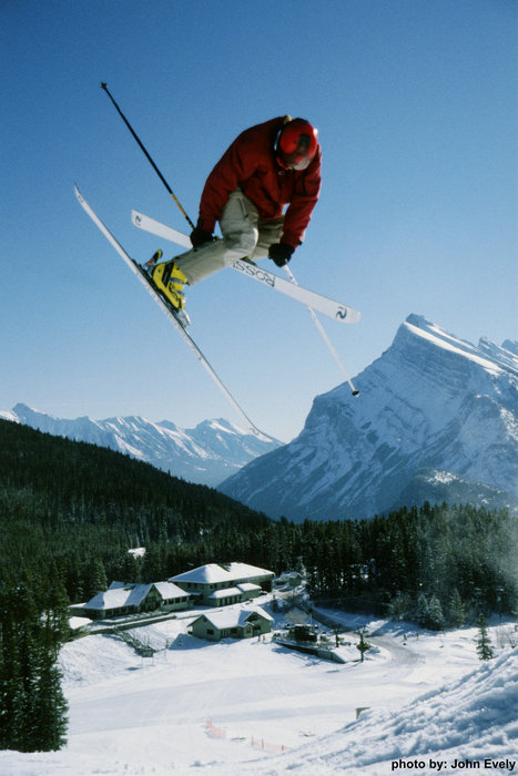 Freeskier on slopes of Mount Norquay