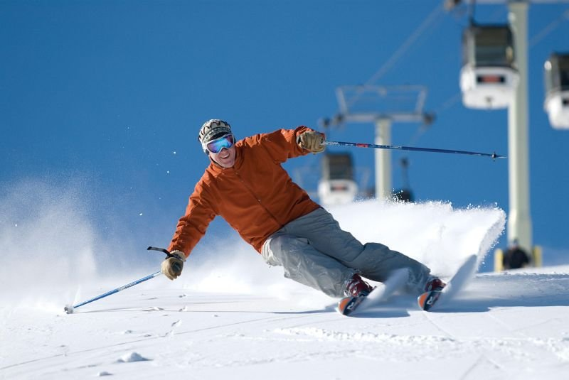 A skier makes a turn at Stratton Mountain, Vermont