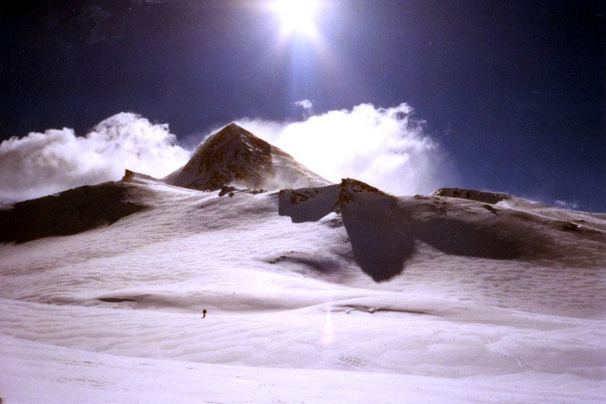 Lone skier at Cervinia, Italy.